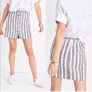 Madewell Gray Stripe Lace Up Skirt Size 8